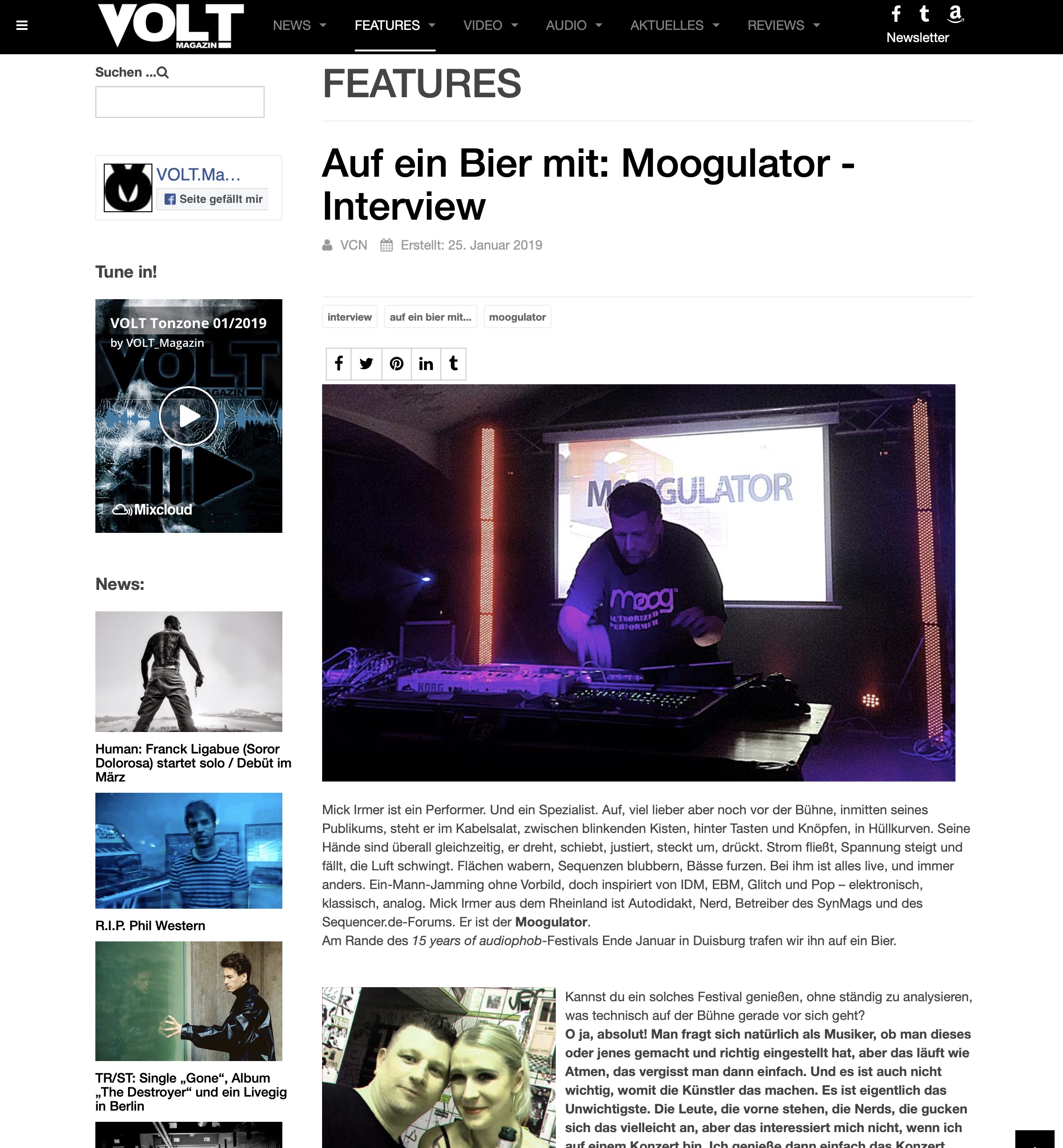 Volt Magazin Interview Moogulator